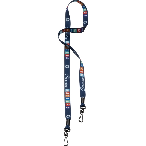"Custom 1/2"" Dye-Sublimated Double Swivel Hook Lanyard"