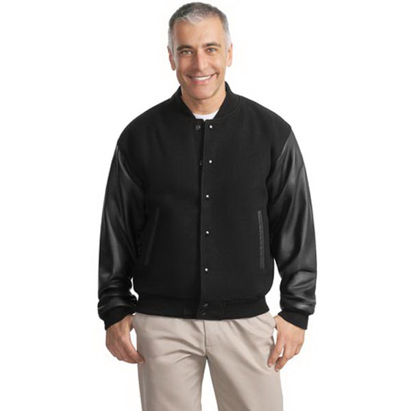 Custom Port Authority® wool and leather letterman jacket