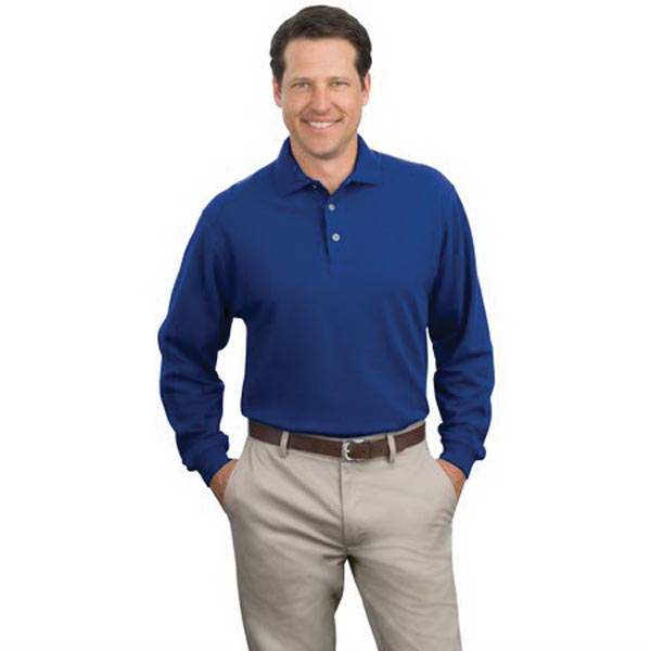 Promotional Port Authority® long sleeve pique knit sport shirt