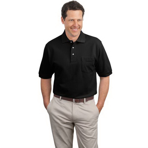 Customized Port Authority® pique knit sport shirt with pocket