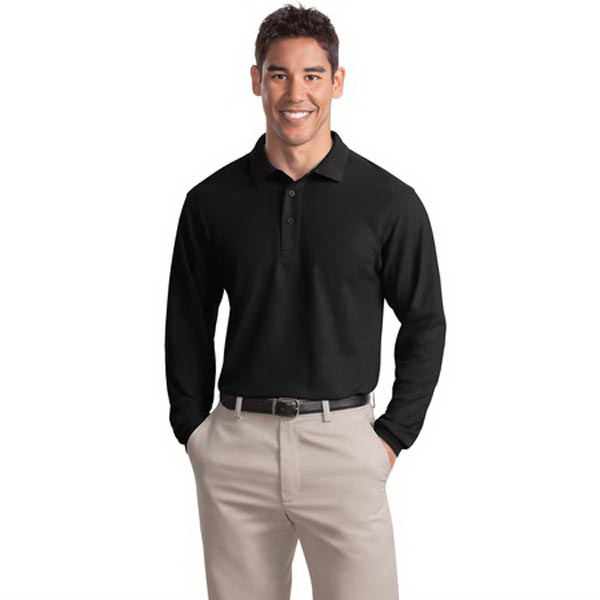 Printed Port Authority® Silk Touch long sleeve sport shirt