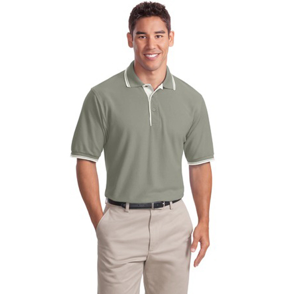 Imprinted Port Authority® Silk Touch polo with stripe trim