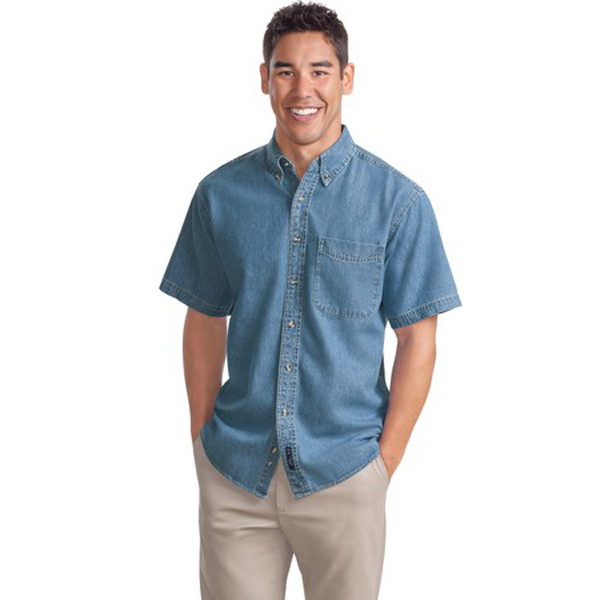 Imprinted Port Authority® short sleeve denim shirt