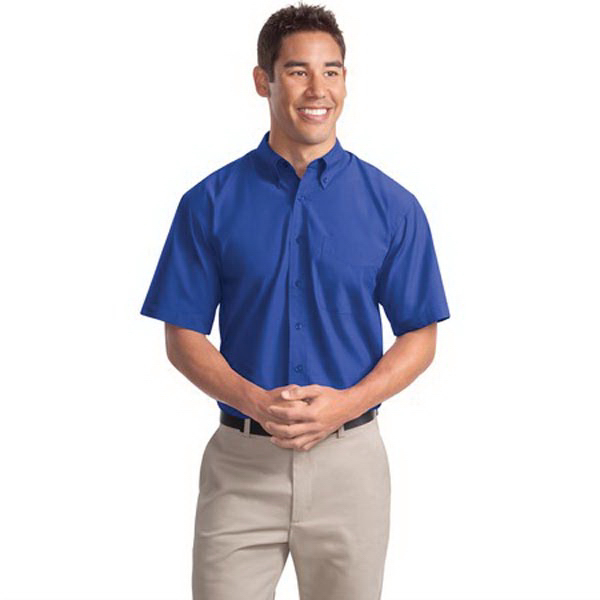Imprinted Port Authority® short sleeve easy care soil resistant shirt