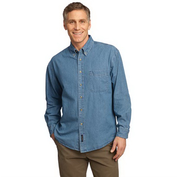 Customized Port Authority® long sleeve value denim shirt