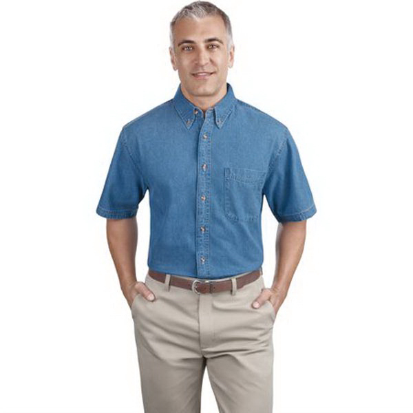 Personalized Port Authority® short sleeve value denim shirt