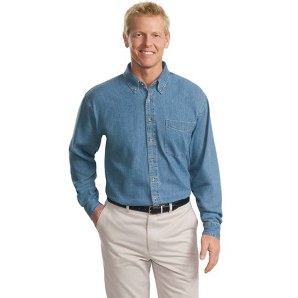 Imprinted Port Authority® long sleeve tall size denim shirt