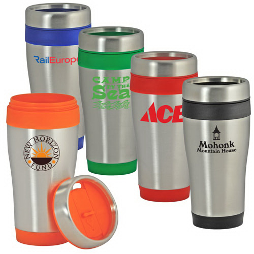 Imprinted 16 Oz Color-Trimmed Stainless Steel Tumbler