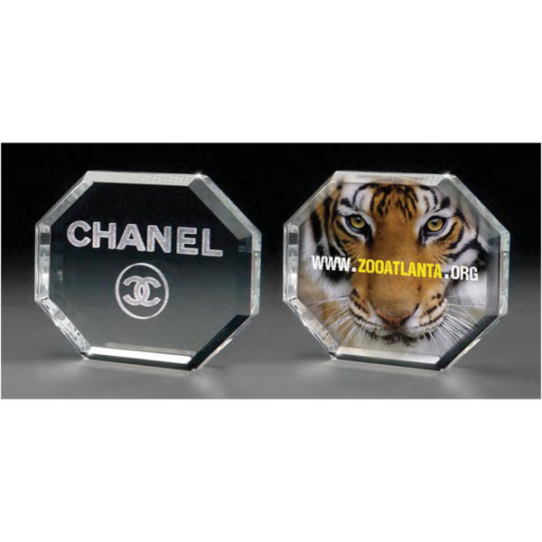 Promotional 3D Crystal Octagon Paperweight
