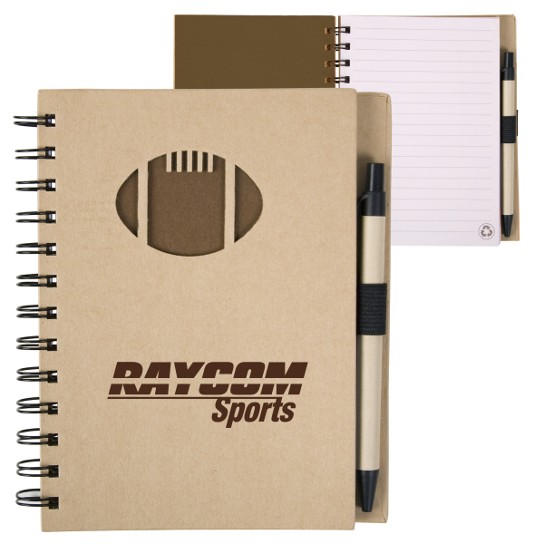 Personalized EcoShapes (TM) Recycled Die Cut Notebook: Football