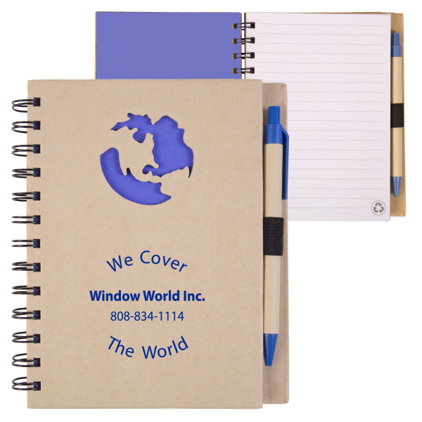 Personalized EcoShapes (TM) Recycled Die Cut Notebook - Global