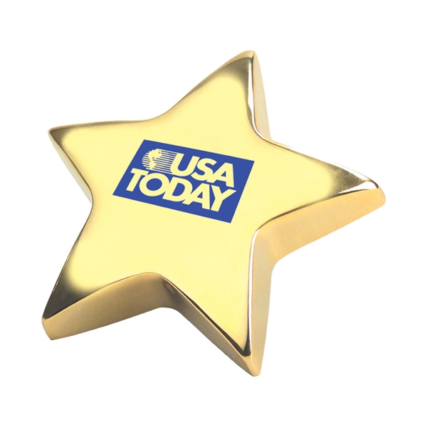 "Personalized Gold Star 4"" Paperweight"