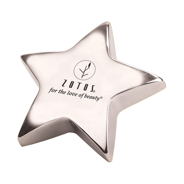 "Printed Silver Star 4"" Paperweight"