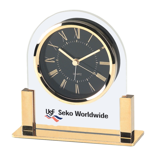 Imprinted Acrylic & Gold Color Finish Desk Clock with Black Dial