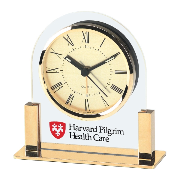Promotional Acrylic & Gold Color Finish Desk Clock with Gold Dial