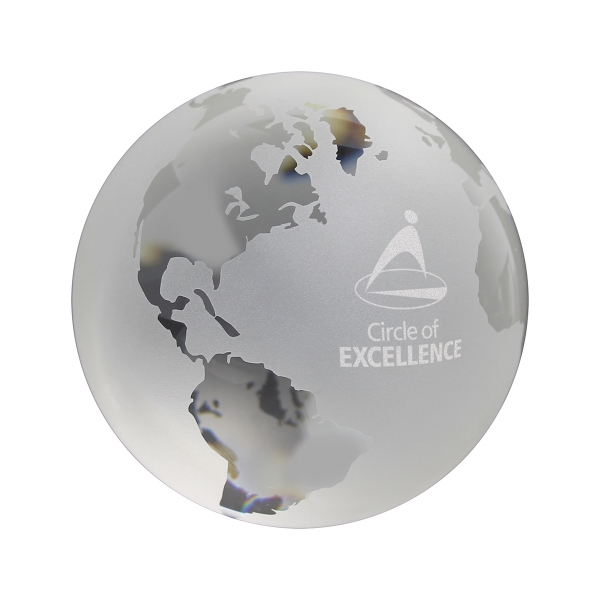 "Custom 3""  World Globe Paperweight"