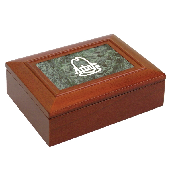Customized Walnut Finish Box with Green Marble Insert