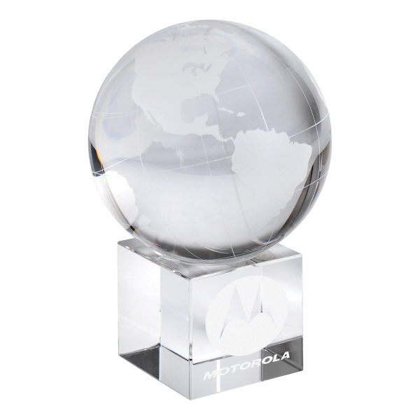 Personalized Optical Crystal Globe on Base