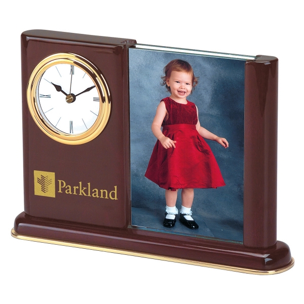 Promotional Piano Wood (R) Clock with Picture Frame