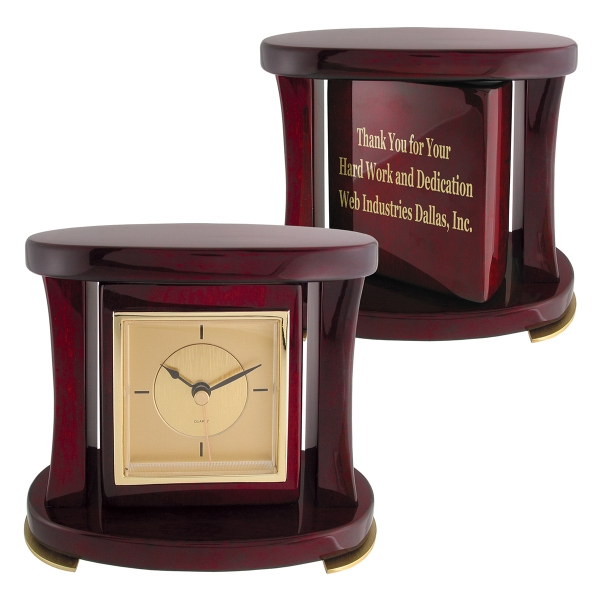 Customized Swivel Piano Wood (R) Desk Clock