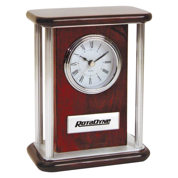 Customized Piano Wood (R) Clock with Silver Pillars