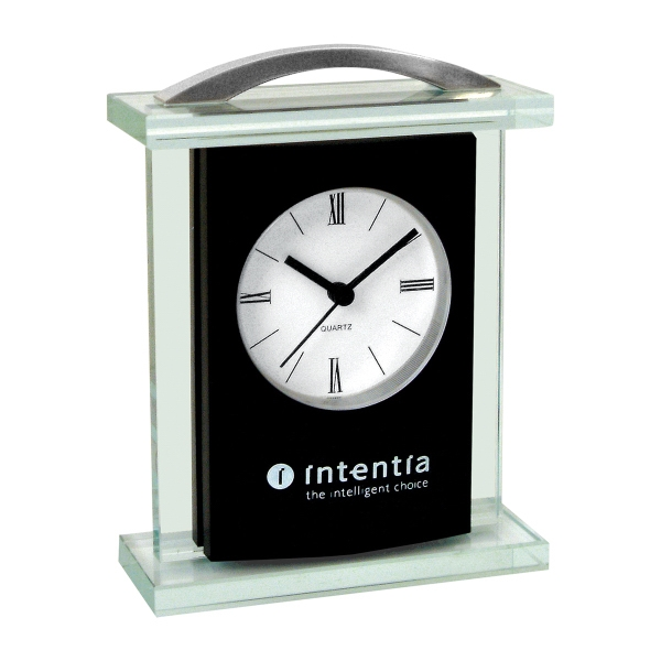 Imprinted Modern Glass Carriage Clock