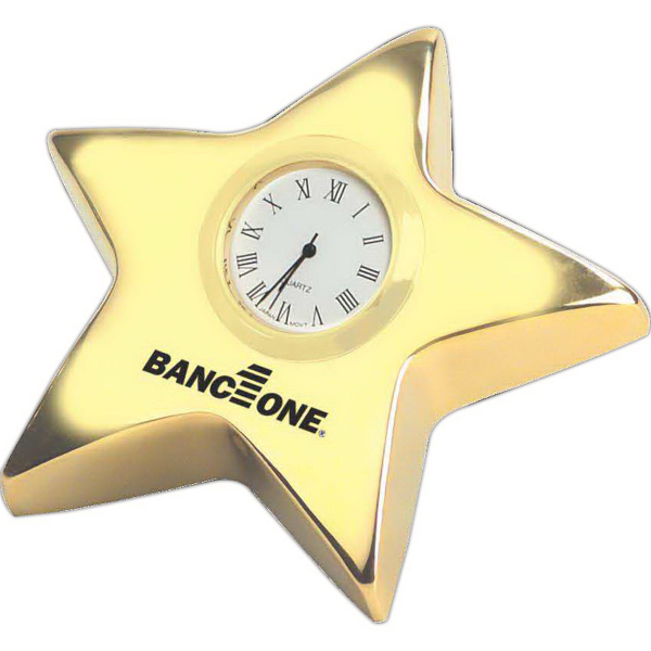 "Personalized 4"" Gold Star Clock"