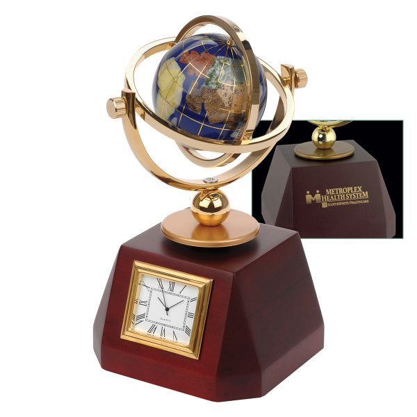 Customized Gemstone World Globe Clock