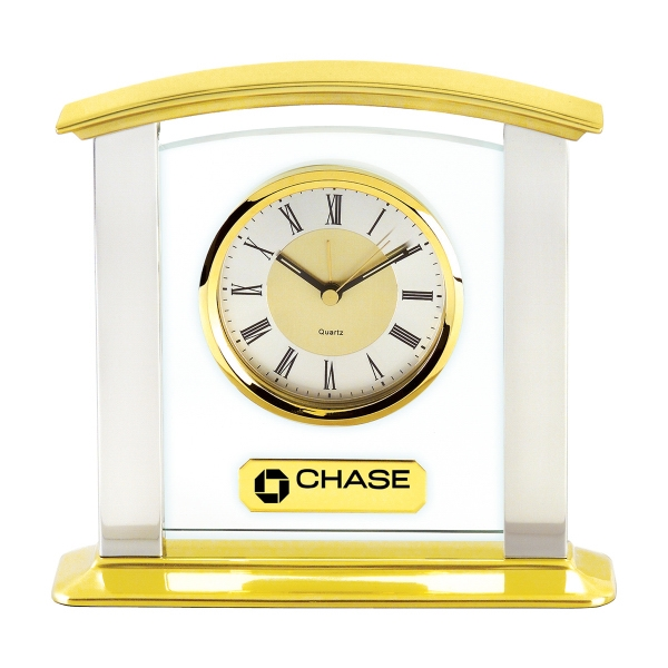 Printed Glass & Brass Mantel Clock with Silver Columns