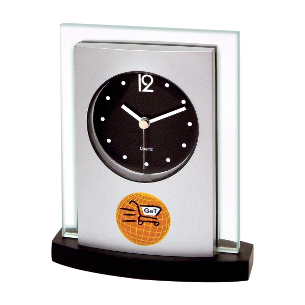 Personalized Desk Top Glass/Wood Clock