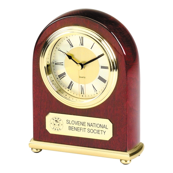 Promotional Arched Piano Wood (R) Desk Alarm Clock
