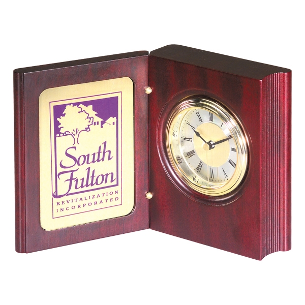 Imprinted Wood Book Clock Award