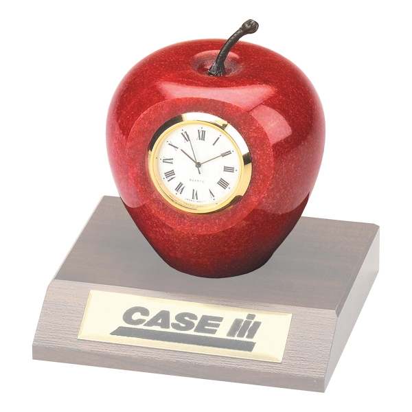 Imprinted Genuine Marble Apple Clock
