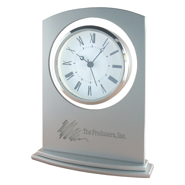 Personalized Sprayed Silver Glass Alarm Clock