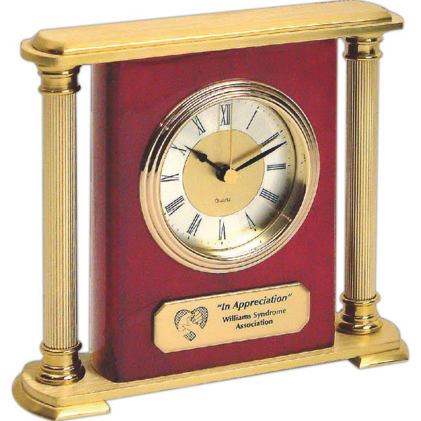 Custom Brass Column Mantel Clock
