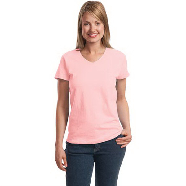 Printed Hanes® ladies' Comfortsoft® v-neck t-shirt