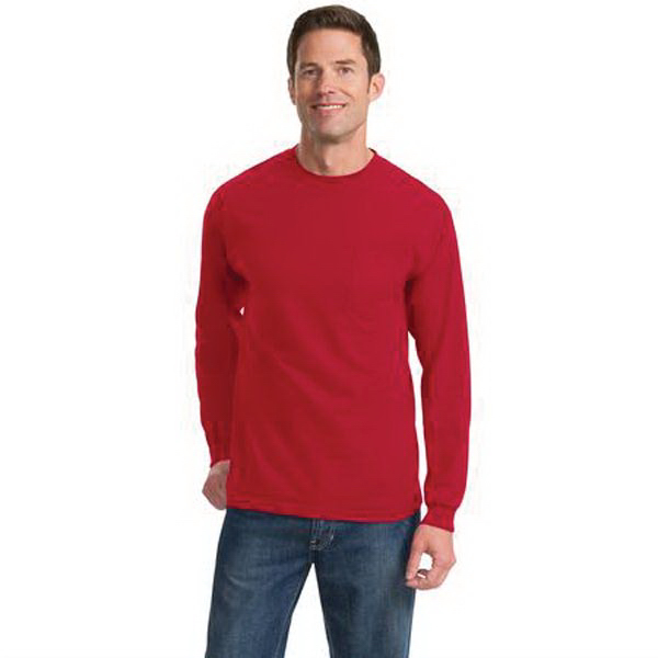 Promotional Port & Company® long sleeve essential t-shirt with pocket