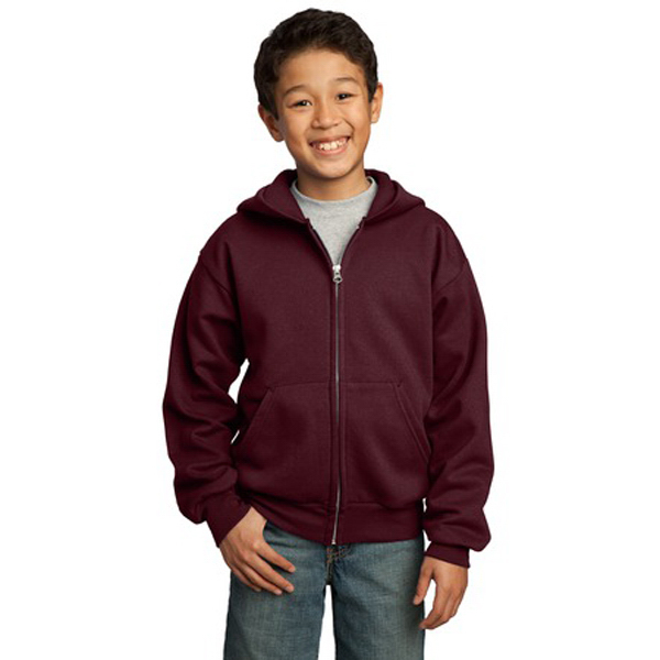 Printed Port & Company® youth full-zip hooded sweatshirt