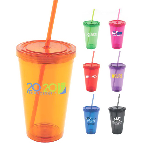 Customized Lumina Colorful 16 oz Double-Wall Acrylic Tumbler
