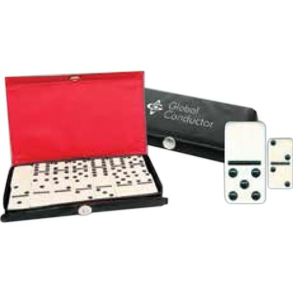 Printed Travel Size Double Six Domino Set in Custom Case