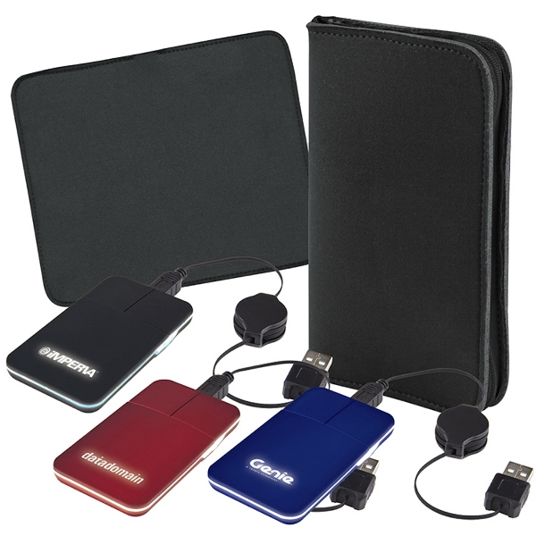 Printed Low-Card Light-Up Mouse with Zippered Mouse Pad