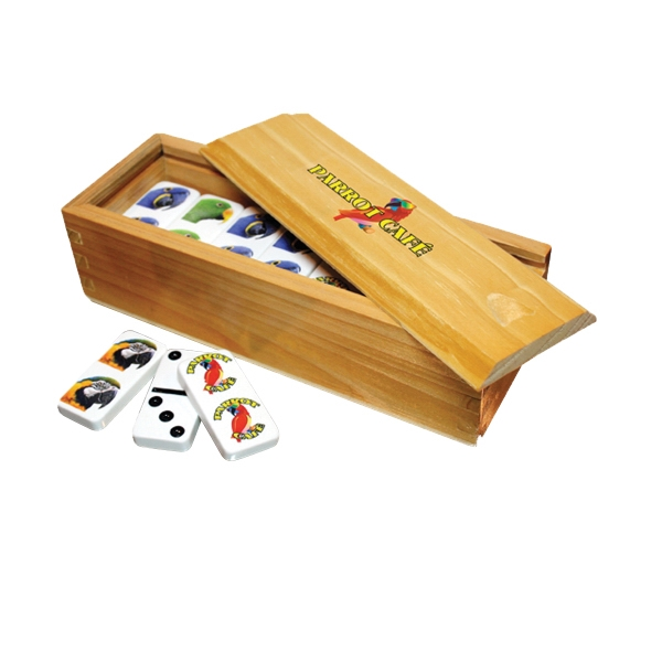 Imprinted Custom Imprinted Dominoes and Wood Box