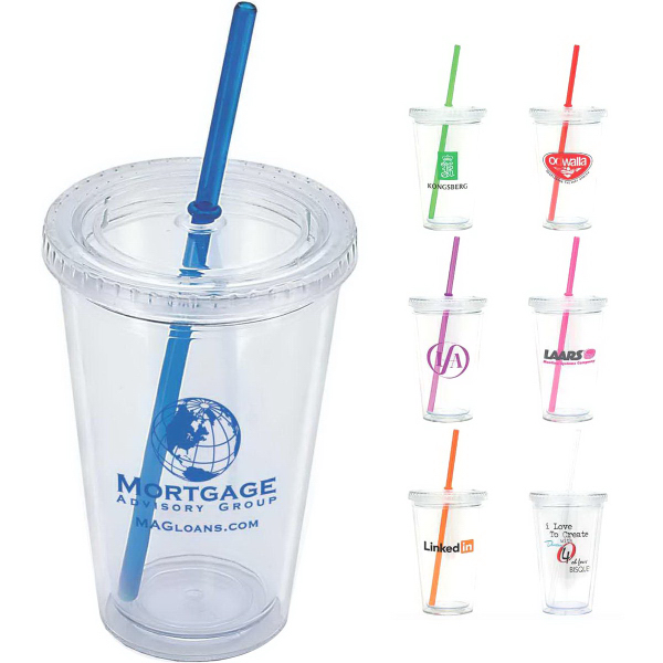 Printed Crystal Clear 16 oz Double Wall Acrylic Tumbler