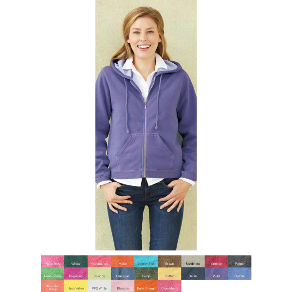 Personalized Comfort Colors Ladies' Pigment Dyed Hooded Sweatshirt