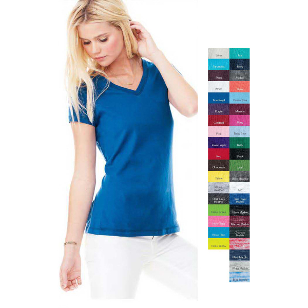 Imprinted Bella + Canvas Ladies' Short Sleeve V-neck Jersey T-shirt