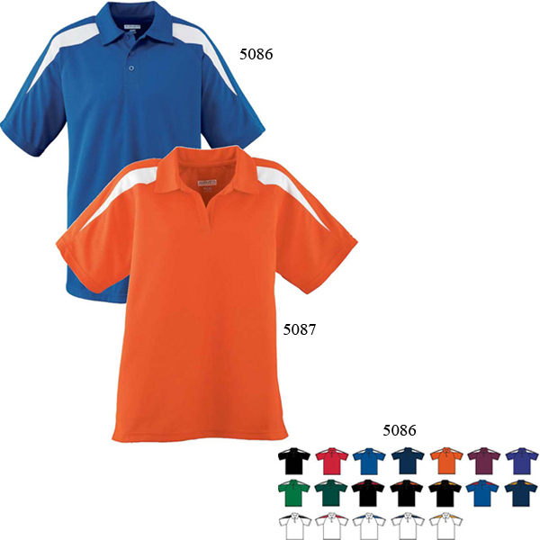 Imprinted Adult Wicking Textured Color Block Sport Shirt