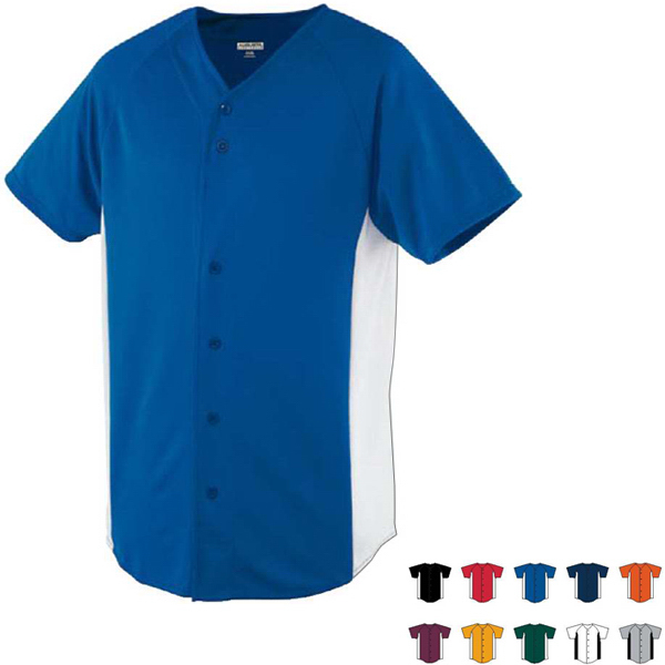 Imprinted Wicking Color Block Button Front Adult Jersey