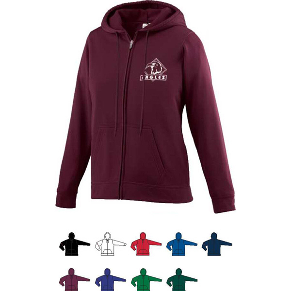 Customized Ladies Wicking Fleece Full Zip Hooded Sweatshirt