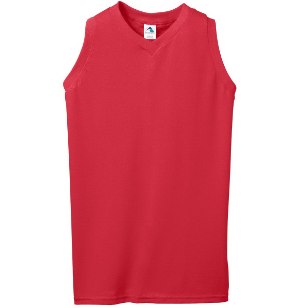 Promotional Ladies Sleeveless V-Neck Poly/Cotton Jersey