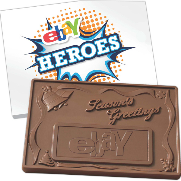 Personalized 1 lb. 3D Season Greetings Custom Molded Chocolate Bars